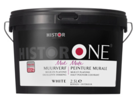 Histor One Muurverf Mat - Wit - 2,5 liter