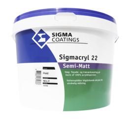 Sigmacryl 22 semimatt wit (Superlatex) - 1 maal 10 liter - Vergelijkbaar met Sigmacryl Decor Soft Semi-Matt