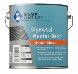 Sigmetal Neofer Decor Semi Gloss - Wit - 0.5 liter - Corrosiewerende primer en aflak