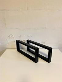 Set zwart stalen plankdragers PATO koker 4x2cm, 44x20cm
