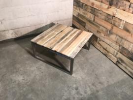 Salontafel vierkant Quatro zwevend rvs met reclaimed wood