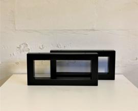 Set zwart stalen plankdragers PATO koker 4x4cm,  44x20cm