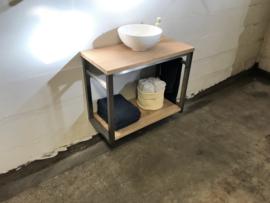 Badkamermeubel rvs en eikenhout met gratis waskom 80cm breed