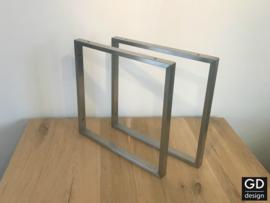 Set maatwerk wandsteunen Pato RVS vierkant koker 3x1,5cm, 40x40cm