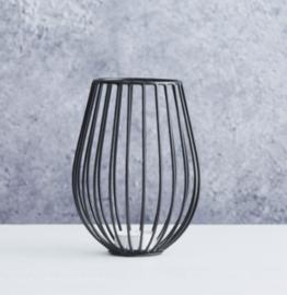 Theelichthouder Point-Virgule Wire zwart * D11,5 cm / H15,5cm