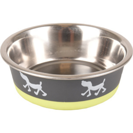eet en drinkpot met honden silhouette Flamingo