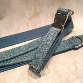 lichtblauwe grof geweven halsband en lijn