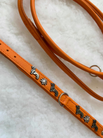 Set dubbel lederen orange halsband met bijpassende lijn, handgemaakt