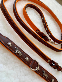 Set lederen halsband met edelweiss (orange)  en  bijpassende lijn, hand gemaakt