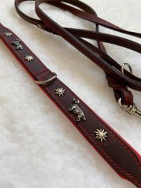 Set mooie dubbel lederen halsband ( rood ) edelweiss en bijpassende  lijn,   hand gemaakt