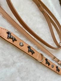 Set beige dubbel lederen halsband met edelweiss en bijpassende lijn, handgemaakt