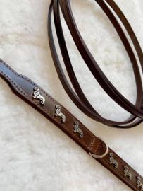 Set dubbel lederen halsband bruin met teckels en bijpassende lijn , hand gemaakt