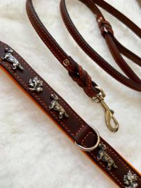 Set dubbel lederen halsband (orange) eikenblad en bijpassende  lijn, hand gemaakt