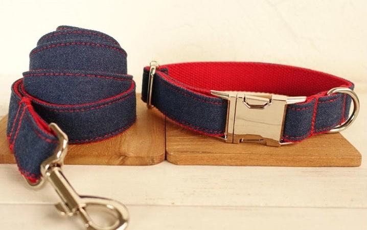 jeans / rood  halsband en lijn