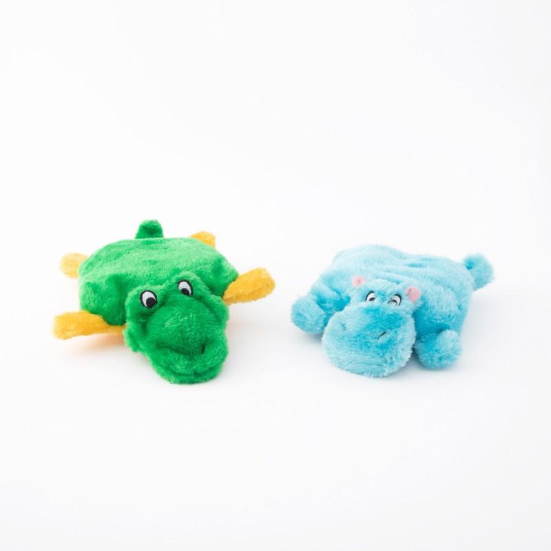 ZippyPaws - 2-Pack Hippo, Alligator , zonder vulling
