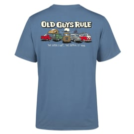 OLD GUYS RULE 'PARKING LOT ' T-SHIRT  INDIGO BLUE