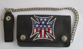 LUCKY 13 IRON CROSS USA  WALLET LEATHER BLACK