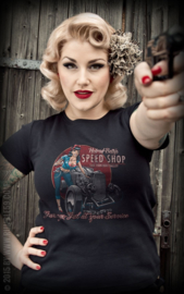 RUMBLE 59  T SHIRT HOT ROD BETTY S SPEED SHOP