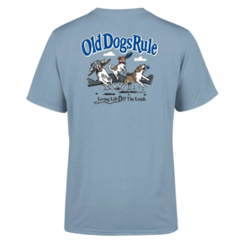 OLD GUYS RULE  'OLD DOGE RULE'  T-SHIRT  STONE BLUE
