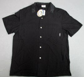 RIETVELD SMALL LOGO EMBROIDERIED COLLAR SHIRT BLACK