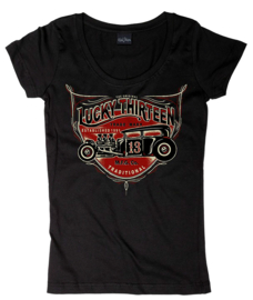LUCKY 13  LADY HOT RODDER WOMEN'S SCOOP NECK TEE