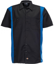 DICKIES TWO TONE WORK SHIRT BLACK/BLUE