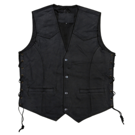 BIKKER VEST LEATHER BLACK