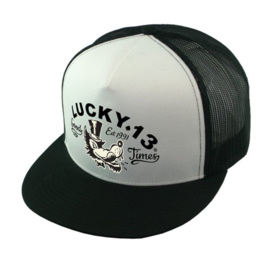LUCKY 13 MR. WOLF TRUCKER HAT CAP BLACK / WHITE