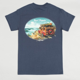 RIETVELD SURF TRIPPING T SHIRT  HEATHER NAVY