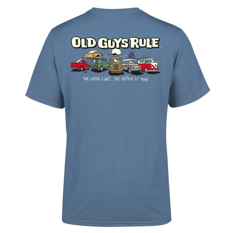OLD GUYS RULE 'PARKING LOT ' T-SHIRT  INDIGO BLUE