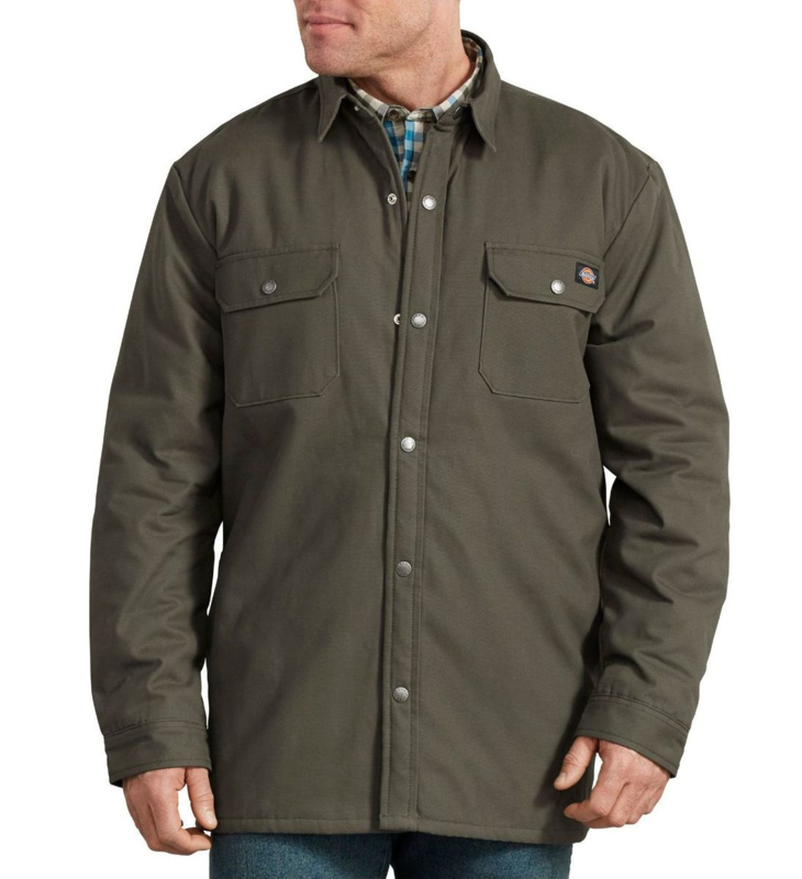 DICKIES LINED DUCK SHIRT JACKET RELAXED OLIVE GREEN