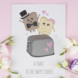 ANSICHTKAART TOAST - A TOAST TO THE HAPPY COUPLE