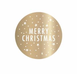 STICKERS 10 STUKS - MERRY CHRISTMAS STICKERS GOUD