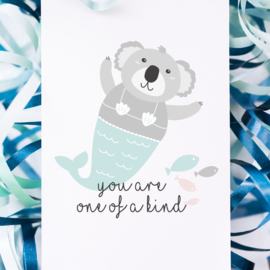 ANSICHTKAART KOALA ZEEMEERMIN - YOU ARE ONE OF A KIND