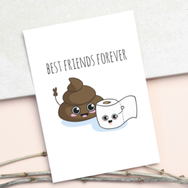 ANSICHTKAART DROL EN WC PAPIER - BEST FRIENDS FOREVER