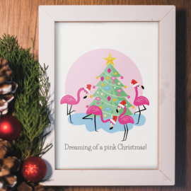 ANSICHTKAART KERST - FLAMINGO - DREAMING OF A PINK CHRISTMAS