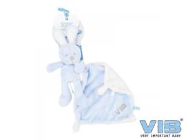 Pluche Konijn houdt doekje vast 'Very Important Rabbit' Blauw