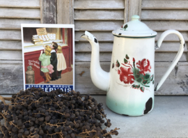 Wit emaille cafetière koffiepot koffiekan met rozen en bloemen