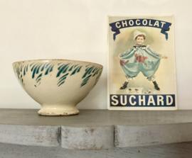 Antieke Franse Terre de Fer bowl kom turquoise