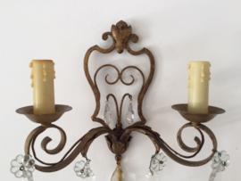 Antieke Franse wandlamp met twee lichtpunten circa 1930