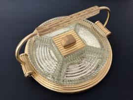 Art deco serveer plateau dienblad met 5 geslepen glazen serveerschaaltjes