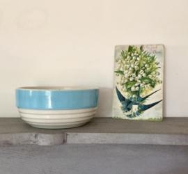 Franse art deco kom bowl pastelblauw