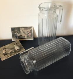 Franse vintage glazen schenkkan 1 liter inhoud Arc