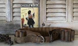 Vintage Franse jachtpatronen gordel leer