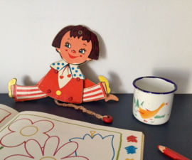 Vintage geëmailleerd kinder kroesje kinderbeker met gans