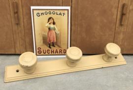 Vintage Franse kapstok hout met drie knoppen