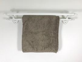 Frans vintage wit geëmailleerd gietijzeren dubbel handdoekenrek