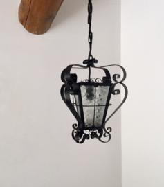 Frans vintage hal lamp met gefigureerd glas