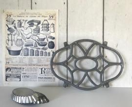 Franse aluminium pannenonderzetter onderzetter vintage