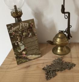 Antiek koperen olielampje tuit lampje of snotneus